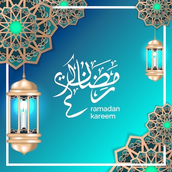 Исламское приветствие рамадана с полумесяцем и золотым фонарем