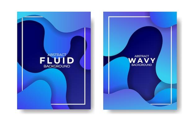 抽象的な現代青い波状流体と液体の背景