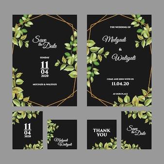 装飾的な花飾り結婚式招待状のテンプレート