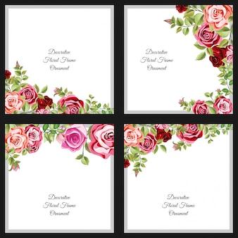Набор декоративных цветочных и листьев шаблона
