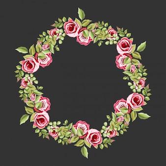 花と葉の飾りと装飾的なサークルフレーム