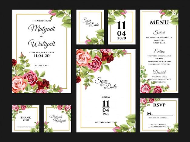 完全な花の結婚式の招待カードのデザインテンプレートセット
