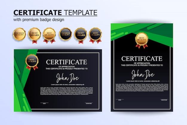 モダンなグリーンブラック証明書デザインテンプレート