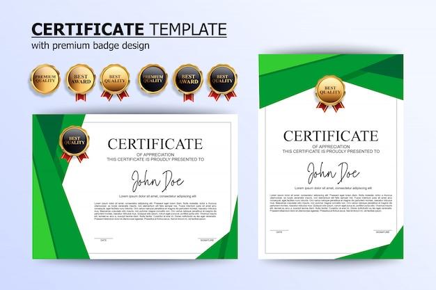 モダンな緑白証明書デザインテンプレート