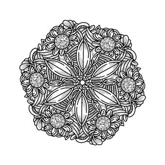 Роскошная рука нарисовать цветочный орнамент мандалы