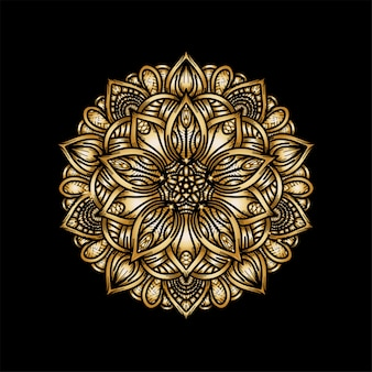 Роскошный золотой ручной рисунок мандалы орнамент