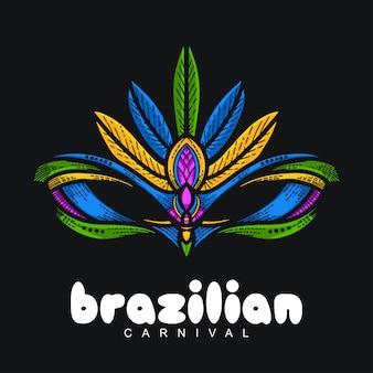 Рука нанесения традиционной маски бразильский фестиваль иллюстрация
