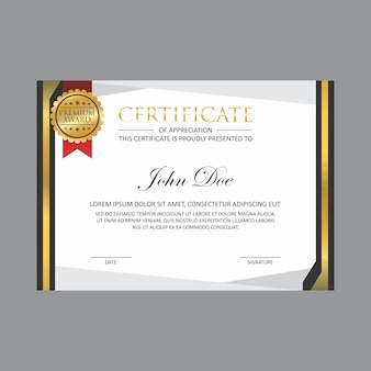 Шаблон оформления золотого сертификата с золотым значком
