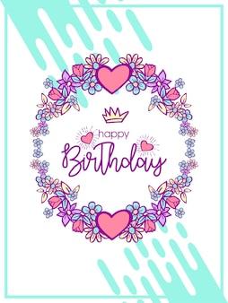 かわいいユニコーンの誕生日挨拶イラスト