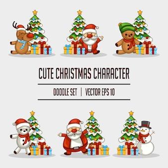 かわいいクリスマスキャラクターのドゥードールセット