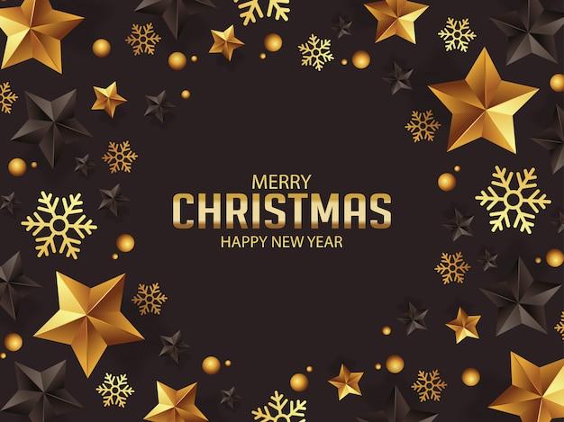 ゴールドとブラックの星付きの豪華なクリスマスの挨拶