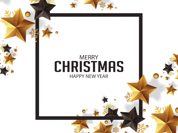 Роскошные рождественские поздравления с золотыми звездами иллюстрации