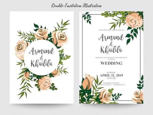 招待状のデザインのための花の水彩画