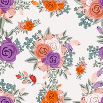 ヴィンテージ水彩花飾りのシームレスなパターン