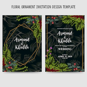 花飾り招待状のデザインテンプレート