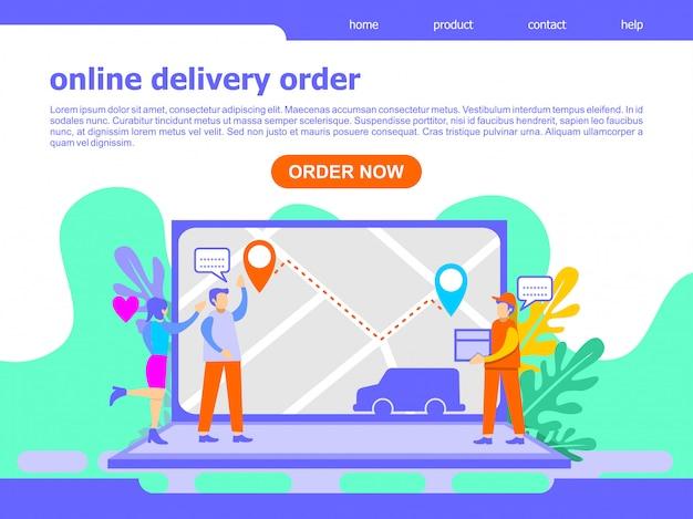 Иллюстрация целевой страницы заказа доставки онлайн