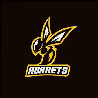 スズメバチ蜂マスコットスポーツゲームのロゴ