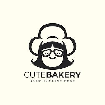 帽子を持つ女性シェフ。レストラン、カフェ、ケーキベーカリーショップのロゴ