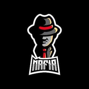 マフィアの帽子スーツゲームマスコットロゴ