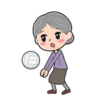 アウトラインパープルウェアおばあちゃんバレーボール