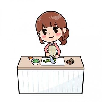 アウトラインエプロンママ料理カット