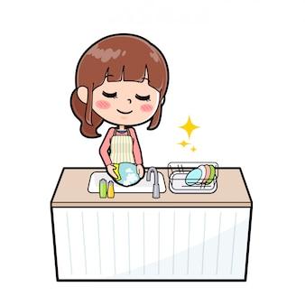アウトラインエプロンママクック食器洗い
