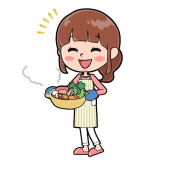 アウトラインエプロンママ料理鍋