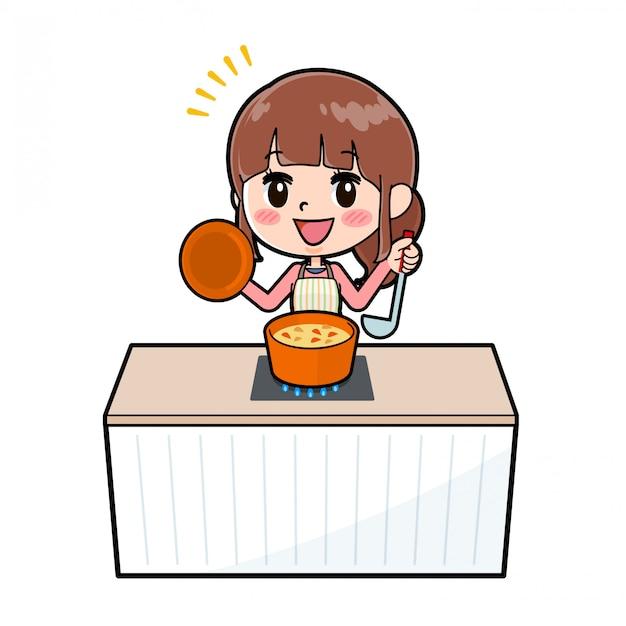 アウトラインエプロンママ料理シチュー