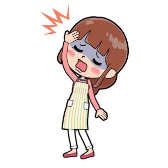 アウトラインエプロンママ頭痛