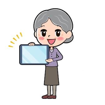 アウトラインパープルウェアおばあちゃんタブレット