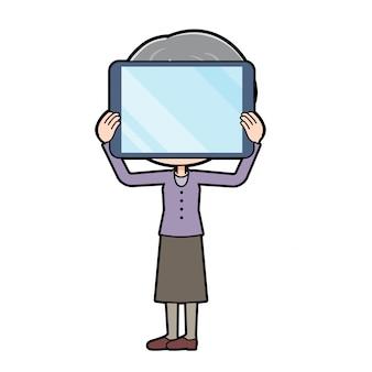 アウトラインパープルウェアおばあちゃんタブレットプライバシー