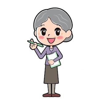 アウトラインパープルウェアおばあちゃんプレゼンテーション