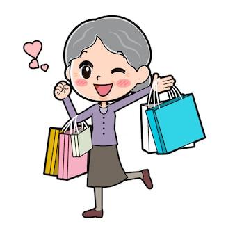 アウトラインパープルウェアおばあちゃんの買い物袋