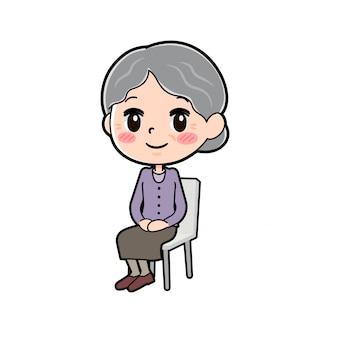 アウトラインパープルウェアおばあちゃん座り椅子