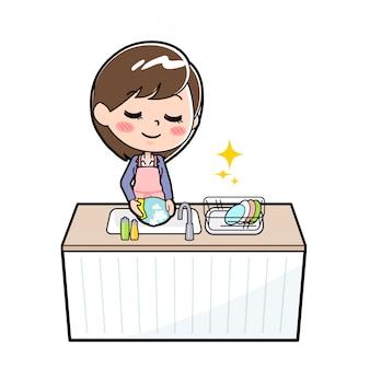 アウトラインビジネス女性料理人食器洗い機