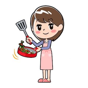 アウトラインビジネス女性料理炒め
