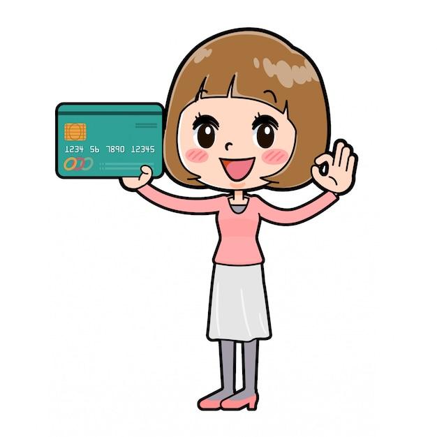 ラインピンクの服の女性のクレジットカード