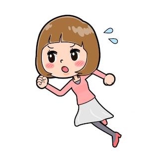 ラインピンクの服の女性ダッシュ