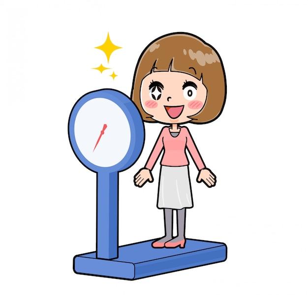 ラインピンクの服の女性のダイエット体重