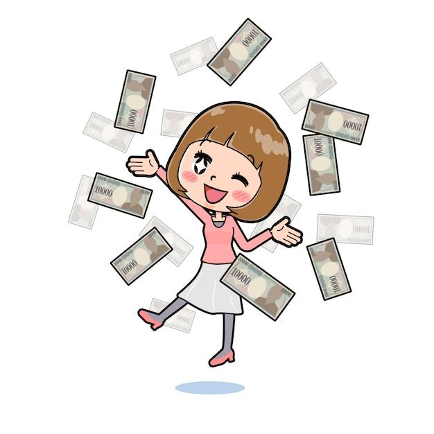 お金を飛ぶラインのピンクの服の女性