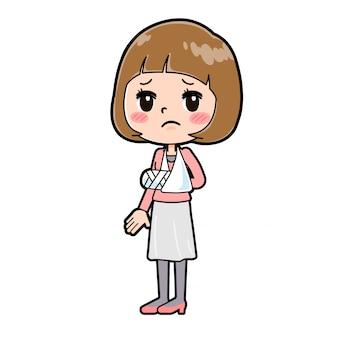アウトラインピンクの服の女性の骨折の腕