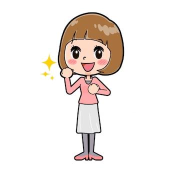 ラインピンクの服の女性ガッツポーズ