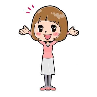 ラインピンクの服の女性の手