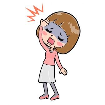 ラインピンクの服の女性の頭痛
