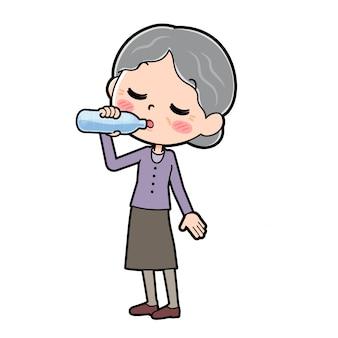 アウトラインパープルウェアおばあちゃん飲料水