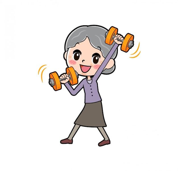 アウトラインパープルウェアおばあちゃんダンベル