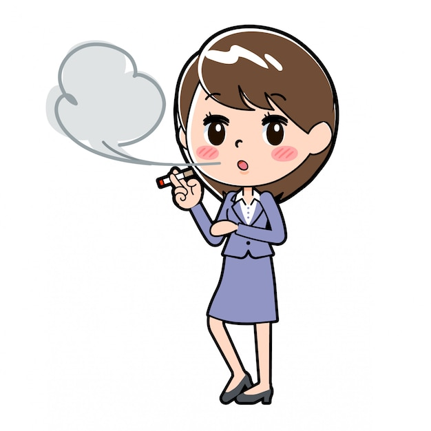 アウトラインビジネス女性タバコ
