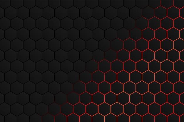 六角形、赤い光の背景を持つブラックグレーパターン
