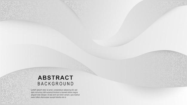 抽象的な幾何学的な白とグレーの曲線グラデーションの背景