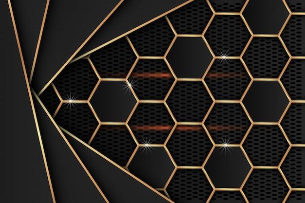 背景として黒いメッシュに金色の縁を持つ黒い金属板。
